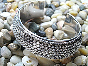 Bali Sterling Silver Wide Cuff Signed BA 56 Grams (Image1)