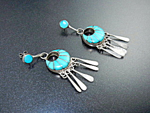 Native American Zuni Turquoise Inlay Sterling Silver L