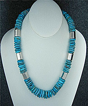 Navajo Nascari Turquoise Sterling Silver Necklace