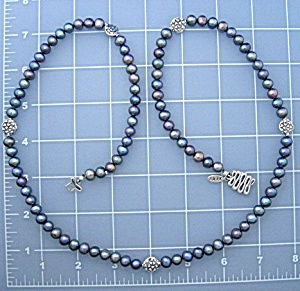 EXEX Blue Grey Parl Necklace 32 Inch 7.8mm (Image1)