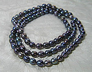 Freshwater Blue Grey Pearl Necklace 18 1/2 Inch