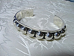 Sterling Silver Raised Ball Taxco Mexico Tl-120 Cuff
