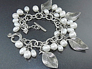 Silpada Sterling Silver Leaves Pearls Toggle Bracelet