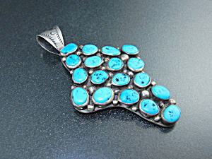 Native American Sterling Silver Turquoise Nakai Pendant