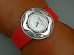 Surrisi Sterling Silver Mother Pearl Red Leather Band