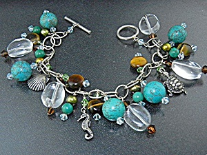 Sterling Silver Charm Toggle Bracelet Pearl Crystals  (Image1)