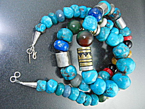 Navajo Tommy Singer Snr Sterling Silver Turquoise Neckl