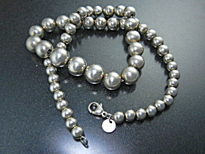 Tiffany Sterling Silver Graduated Beads Necklace