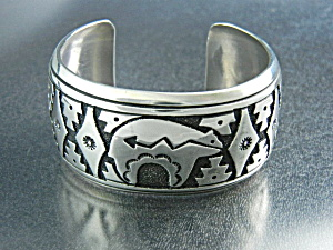 Native American Tommy Singer Sterling Silver Bear Cuf