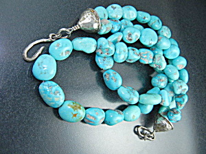 Native American Fox Turquoise Sterling Silver 2 Strand