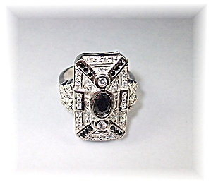 Ring Sterling Silver Sapphire Crystal Antique Look (Image1)