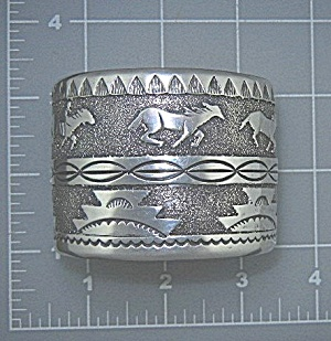 Navajo Sterling Silver Tommy Singer Horses Cuff