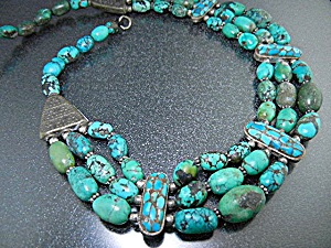 Sterling Silver Chinese Turquoise Necklace (Image1)
