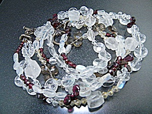 Crystal Silver Tone 3 Strand Necklace Toggle Clasp