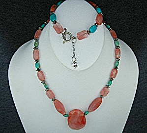 Sterling Silver Rhodocrosite Turquoise Necklace Bracele (Image1)