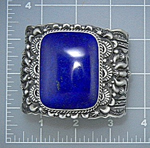 Navajo Sterling Silver Afghan Lapis D. Becenti Cuff