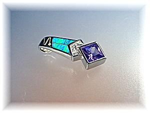 Pendant Sterling Silver Opal CZ Amethyst (Image1)