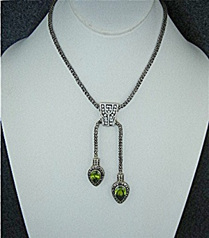 Peridot Sterling Silver Lariat Toggle Necklace Bali Sig
