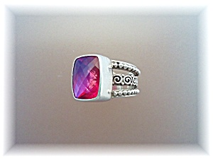 Ring Sterling Silver Watermelon Crystal By Designer SAJ (Image1)