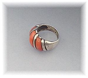 Ring Sterling Silver Pink Coral By Designer Hana (Image1)