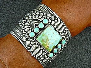 Navajo Sterling Silver Pilot Mountain Turquoise Becenti