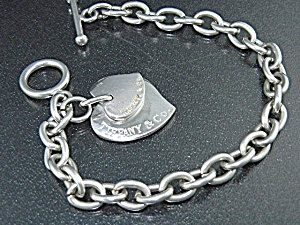 Tiffany Sterling Silver Double Hearts Toggle Clasp Brac