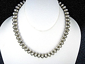 Navajo Sterling Silver 10mm Beads Necklace 17 Inches
