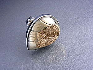 Goldstone Druzy Sterling Silver Pear Shape Ring (Image1)