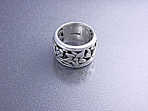 Sterling Silver Signed B Flowers Ring Thailand