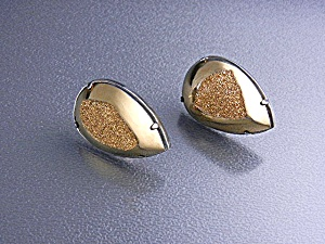 Sterling Silver Golden Druzy Pear Shape French Back Ear (Image1)