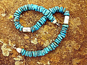 Necklace Turquoise Sterling Silver Navajo USA Signed DI (Image1)