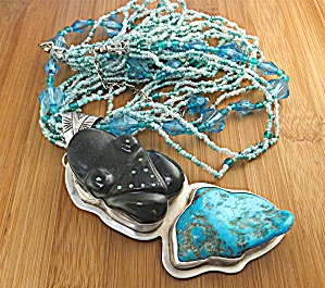Necklace Sterling Silver Turquoise Onyx Aqua AMY KHAN (Image1)