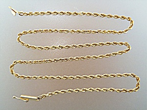 Necklace 14K Gold Rope Push Lock Clasp (Image1)