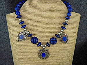 Amy Kahn Russell Afghani Carved Lapis Silver Necklace (Image1)