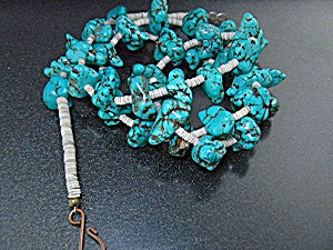 Native American Turquoise Nugget Heishi Necklace