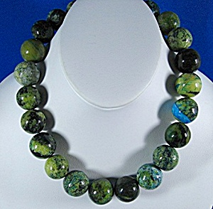 Necklace Crysocolla Beads 19 Inch Blue Green Gold Mos