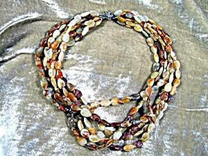 Agate Rock 6 Strand Necklace Sterling Silver Clasp (Image1)
