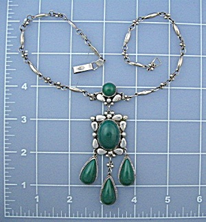 Mexico Guadelahara Sterling Silver GTJIM Glass Necklace (Image1)