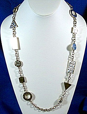 Sterling Silver Modernistic Design Necklace 28 Inch