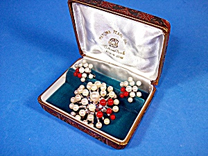 Cultured Pearls Natural Coral Silver Brooch & Earrings