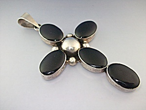Pendant Sterling Silver Black Onyx Cross Native America