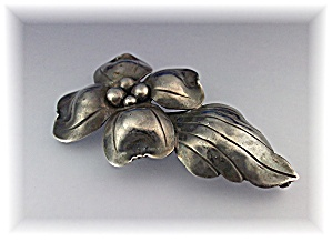 Brooch Pin Sterling Silver Flowers John Wanamaker