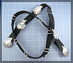 Sterling Silver Bears Concho Belt black Sude Leather (Image1)