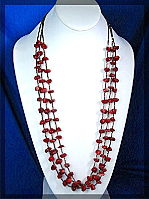 Coral and Tan Heishi Bead Necklace (Image1)