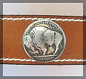 Buffalo Nickels Silver Leather Hat Band (Image1)