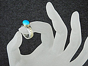 Navajo 14K Gold Sterling Silver Turquoise Ring (Image1)