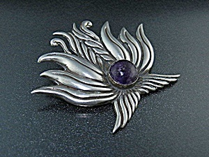 Taxco Mexico Sterling Silver 980 Amethyst Brooch