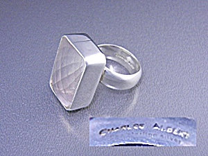 Charles Albert Rose Quartz Sterling Silver Ring (Image1)