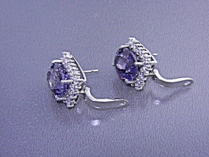 White Sapphire Blue Purple Spinel Pierced Earrings Ster