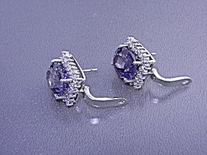 White Sapphire Blue Purple Spinel Pierced Earrings Ster (Image1)